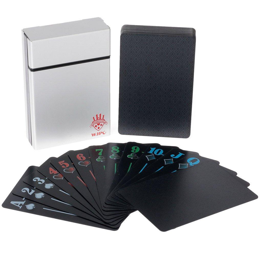 Carte da poker in plastica Playing Cards nero carte da poker carte da gioco carte da gioco classiche in PVC impermeabile in confezione regalo hopewey
