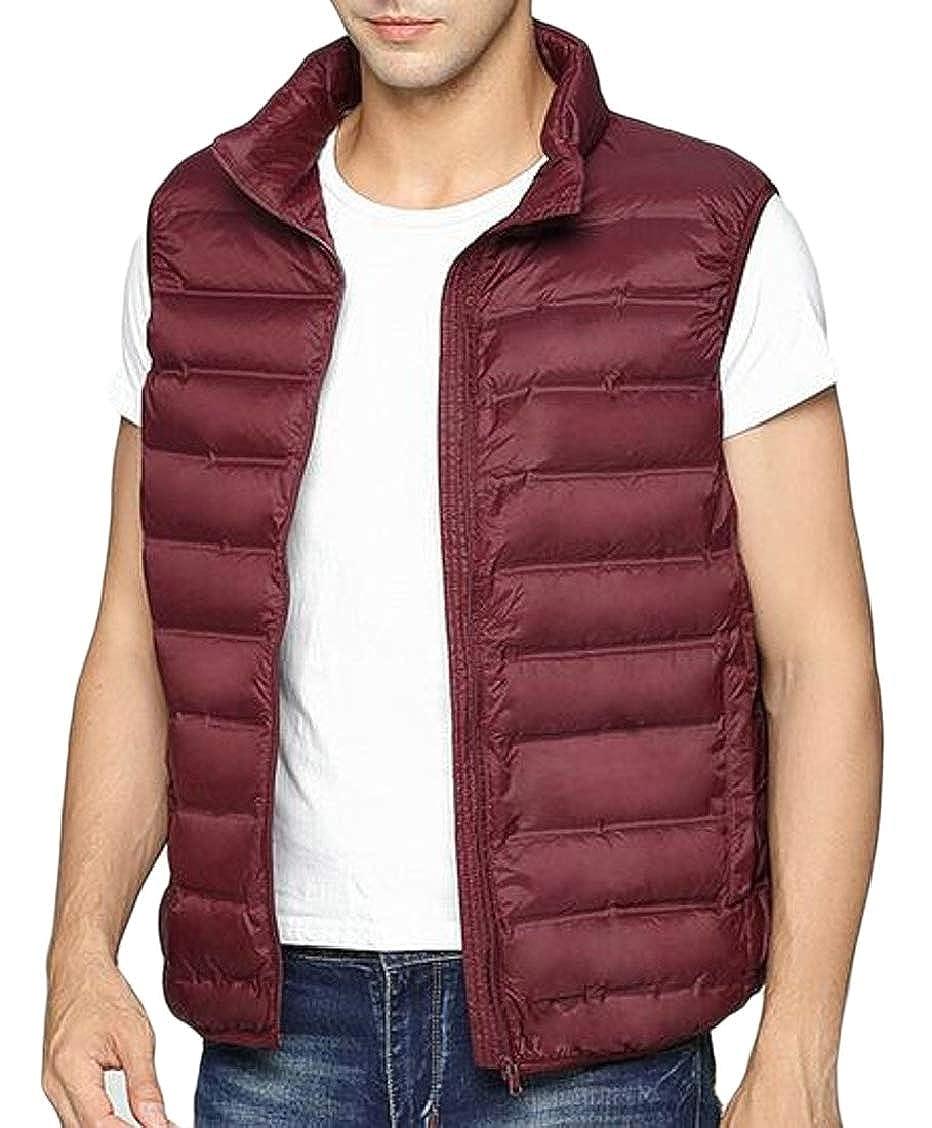 XQS Mens Winter Warm Solid Lightweight Down Vest Padded Jacket Puffer Vest