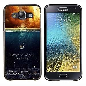 KLONGSHOP // Cubierta de piel con cierre a presión Shell trasero duro de goma Protección Caso - CADA FINAL ES UN NUEVO COMIENZO - Samsung Galaxy E5 E500 //