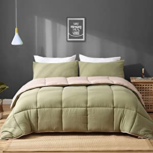 APSMILE Moss Green/Light Brown Reversible Down Alternative Comforter Set Full/Queen - 3 Pieces All-Season Ultra-Soft Cloud Breathable Recycled Microfiber Comforter Duvet with Shams