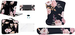 MOSISO Plastic Hard Shell&Sleeve Bag&Keyboard Cover&Webcam Cover&Screen Protector Compatible with MacBook Air 13 A2179 A1932 & Wrist Rest Support for Mouse Pad & Keyboard Set