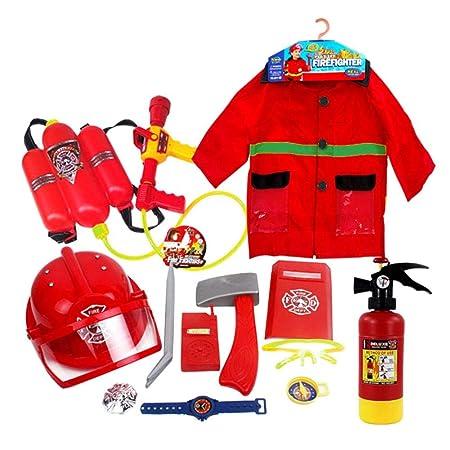 Kindlyperson Traje de Bombero para niños, Disfraz de Jefe de Bomberos para disfrazarse, Juego de rol de simulación Regalos de Bombero para niños de 3, ...