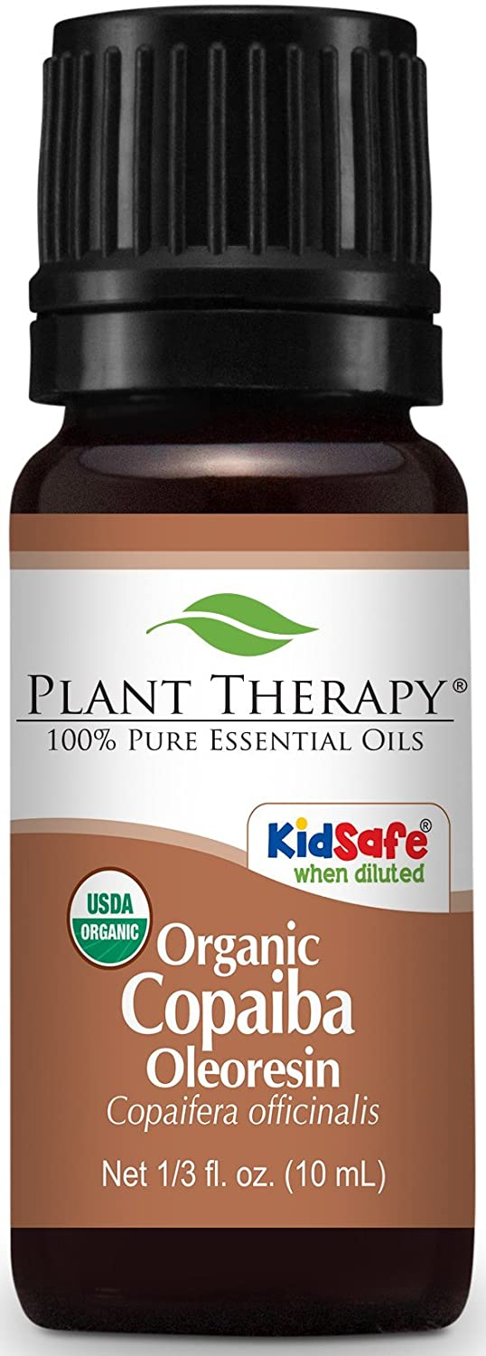 Plant Therapy Copaiba Balsam ORGANIC Essential Oil. 10 ml (1/3 oz) 100% Pure, Undiluted, Therapeutic Grade. Plant Therapy Essential Oils