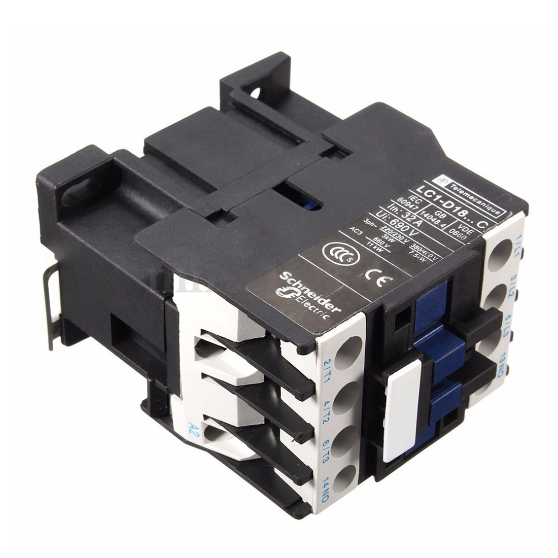 Power AC Contactor 1NO AC 220V 50//60Hz Coil Motor Starter Relay 32A 3-Phase-Pole R TOOGOO