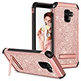 Galaxy A8 2018 Case (SM-A530 A530w) Kickstand,GUAGUA Girls Women Glitter Sparkly Slim Fit Hybrid Hard PC Soft Bumper Shockproof Protective Tough Phone Case for Samsung Galaxy A8 2018/A5 2018/A530 (5.6 inch) smartphone Rose Gold