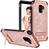 Guagua Galaxy A8 2018 Case Galaxy A5 2018 Case with Kickstand Girls Women Slim Dual Layer Hybrid Hard PC Cover Soft Bumper Shockproof Protective Phone Case for Samsung A8 2018/A5 2018/A530 Rose Gold