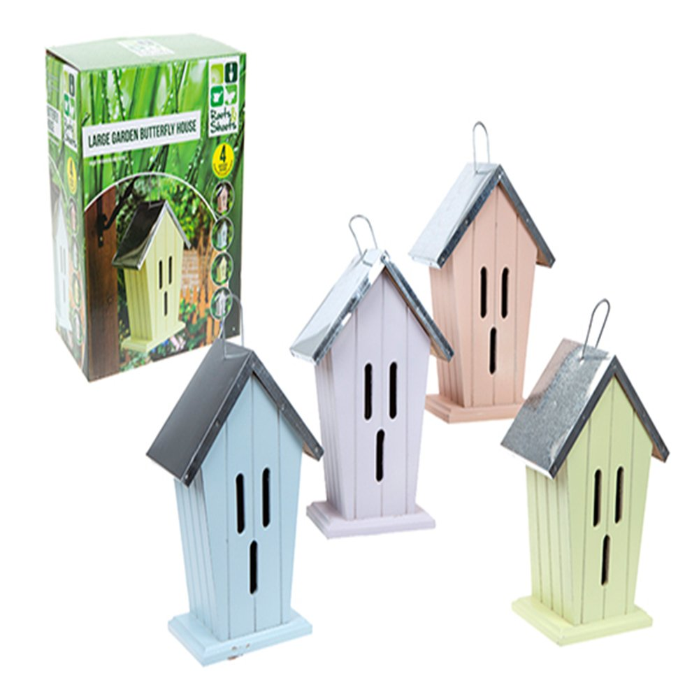 Large Tin Roof Garden Butterfly House In A Choice Of 4 Colours (Lime) PMS
