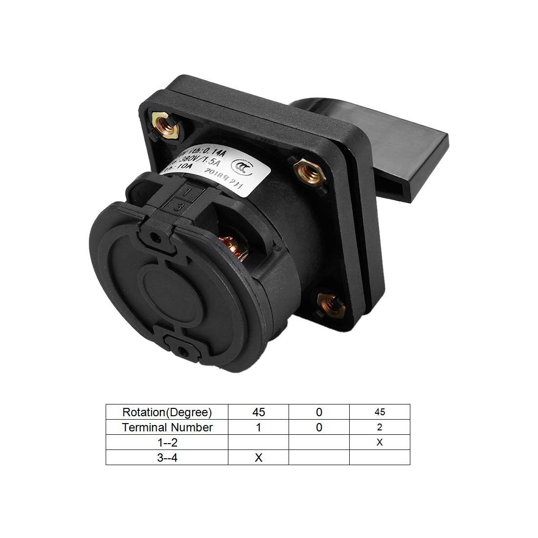 uxcell Changeover Switch 3 Position Rotary Selector Cam Switch Panel Mount 4 Terminals Latching Ui 500V Ith 10A