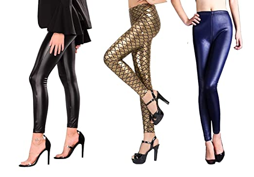 a508f81c339d Malachi Combo Pack of 3 Pu Coated Faux Leather Leggings/Jeggings Elastic  Slim Seamless Stretchy