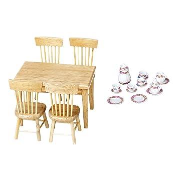 Amazon Com Baoblaze Vintage Dollhouse Miniature 5pcs Wooden Table