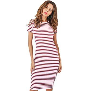 gkragaopt Striped Summer Beach Dress Women Shortsleeve Red Sexy Bodycon Office Midi Party Dresses Causal Vestidos