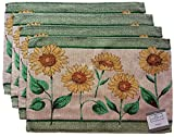 Springtime Flowers Woven Tapestry Fabric Placemats - Set of 4 (Sunflowers)