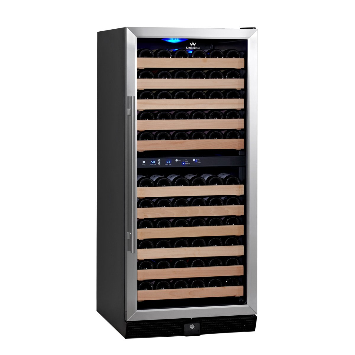 KingsBottle Dual Zone Wine Fridge -  287 Pounds Large Stainless Steel Refrigerator, 164 Wine Bottles, Vibration Free, Temperature Control Fridge with Ball rollers for Home, Bar, Restaurants