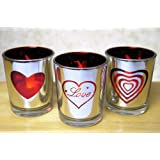 Valentine's Day Candles - Set of 3 Silver Metallic Votive Candle Holders - 3 White Flameless Tealights Included - Valentine Candle
