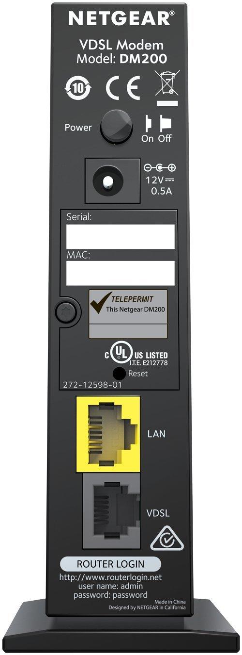NETGEAR DM200-100EUS High-Speed Broadband DSL (VDSL/ADSL) Modem-Black