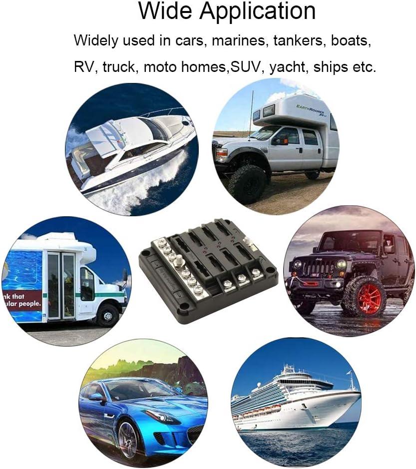 24V Automotive Car Boat Marine Truck SUV RV Heart Horse Scatola Portafusibili a 6 Vie con Indicatore LED Coperchio Impermeabile,Blocco Portafusibili a 6 Circuiti con Bus Negativo per 12V