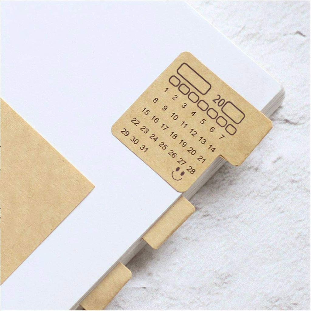 48PCS-2019 Calendars Stickers,Universal Handwriting Brown Kraft Paper Monthly Calendars Adhesive Labels for Appointment/Planner/Agenda/Bullet/Journal