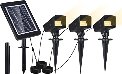 Solar Landscape Spotlights, IP65 Waterproof Solar Powered Wall Lights with 3 Spot Lamps, Wireless Outdoor Solar Landscaping Lights for Yard Garden Pathway Patio