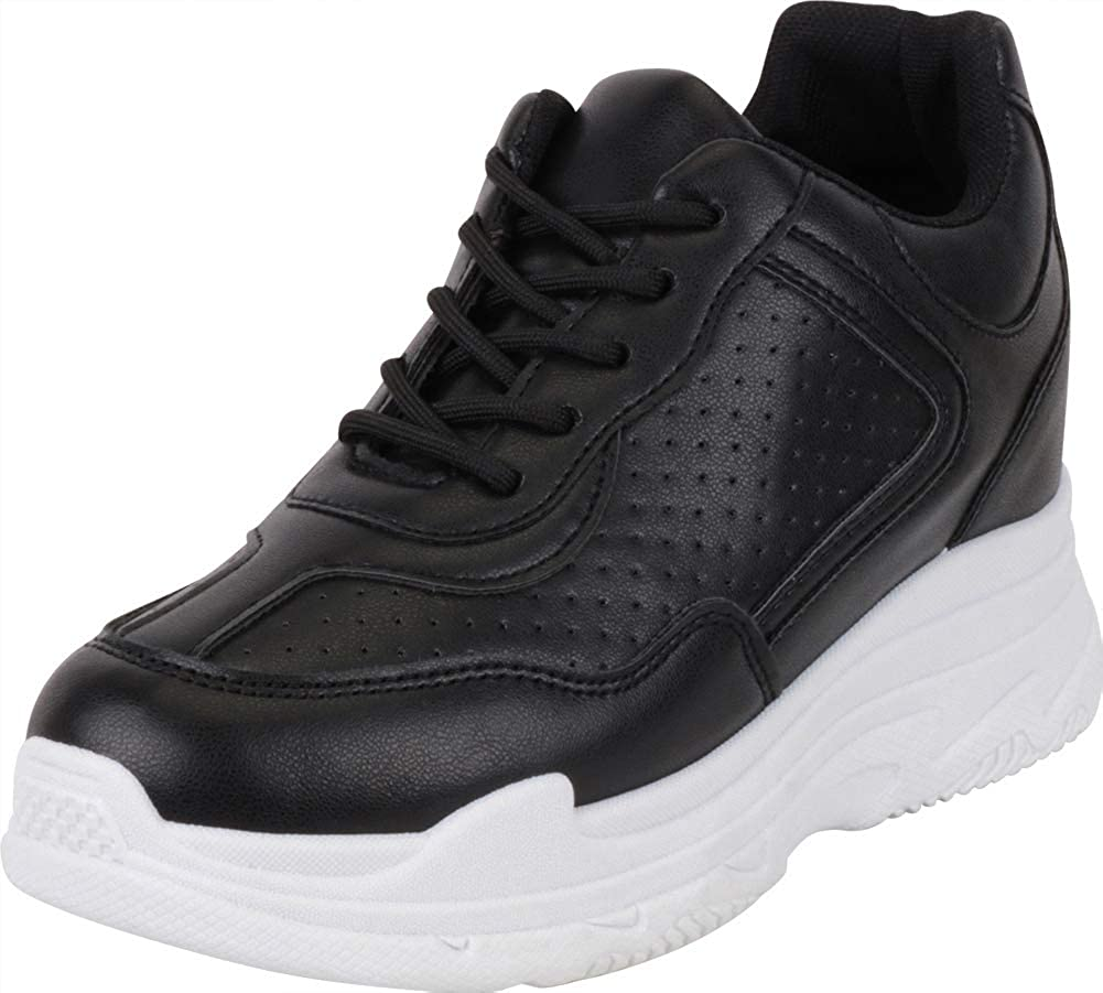 Black Pu Cambridge Select Women's 90s Ugly Dad Perforated Lace-Up Chunky Platform Hidden Wedge Fashion Sneaker