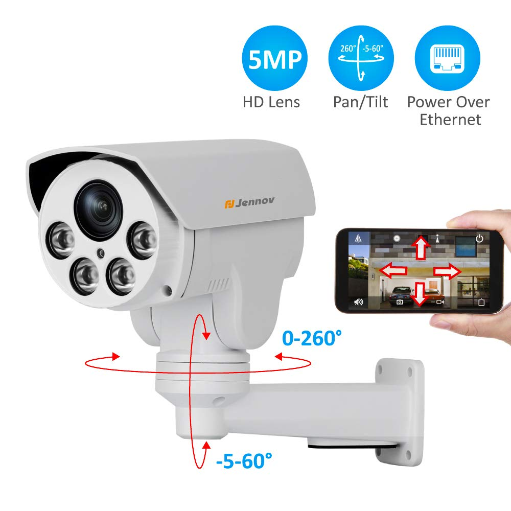 POE Security IP Camera, Jennov HD 5MP 2592X1944 IP PTZ Security Camera H264 CCTV Home Video Audio Surveillance Outdoor IR-Cut Night Vision Motion Detection Free Remote Phone App