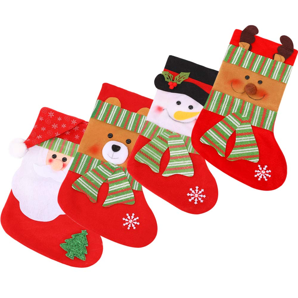 HE FEN HAN 4 pcs Classic Christmas Stockings Santa Snowman Bear Elk Style for Kids Gifts Candy Christmas Eve Hanging Tree Ornament Home Decor
