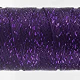 WonderFil Specialty Threads Dazzle, 200 yard, Purple. Rayon with One Strand of Metallic. 8wt.