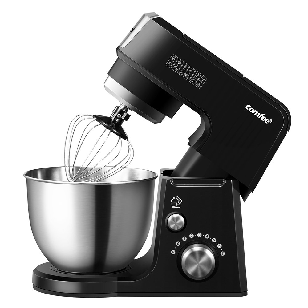 Comfee 2.6Qt Die Cast 7-in-1 Multi Function Tilt-Head Stand Mixer with SUS Mixing Bowl, Whisk, Hook, Beater, Splash Guard.4 Outlets, 7 Speeds & Pulse, 15 Minutes Timer Planetary Mixer (Black) by Comfee