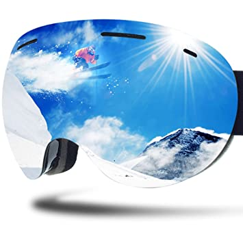 50683b50fc ZIONOR Lagopus X5 Ski Snowmobile Snowboard Goggles with 100% UV400  Protection Anti-fog Oversize Spherical Frameless Goggle  Amazon.ca  Sports    Outdoors