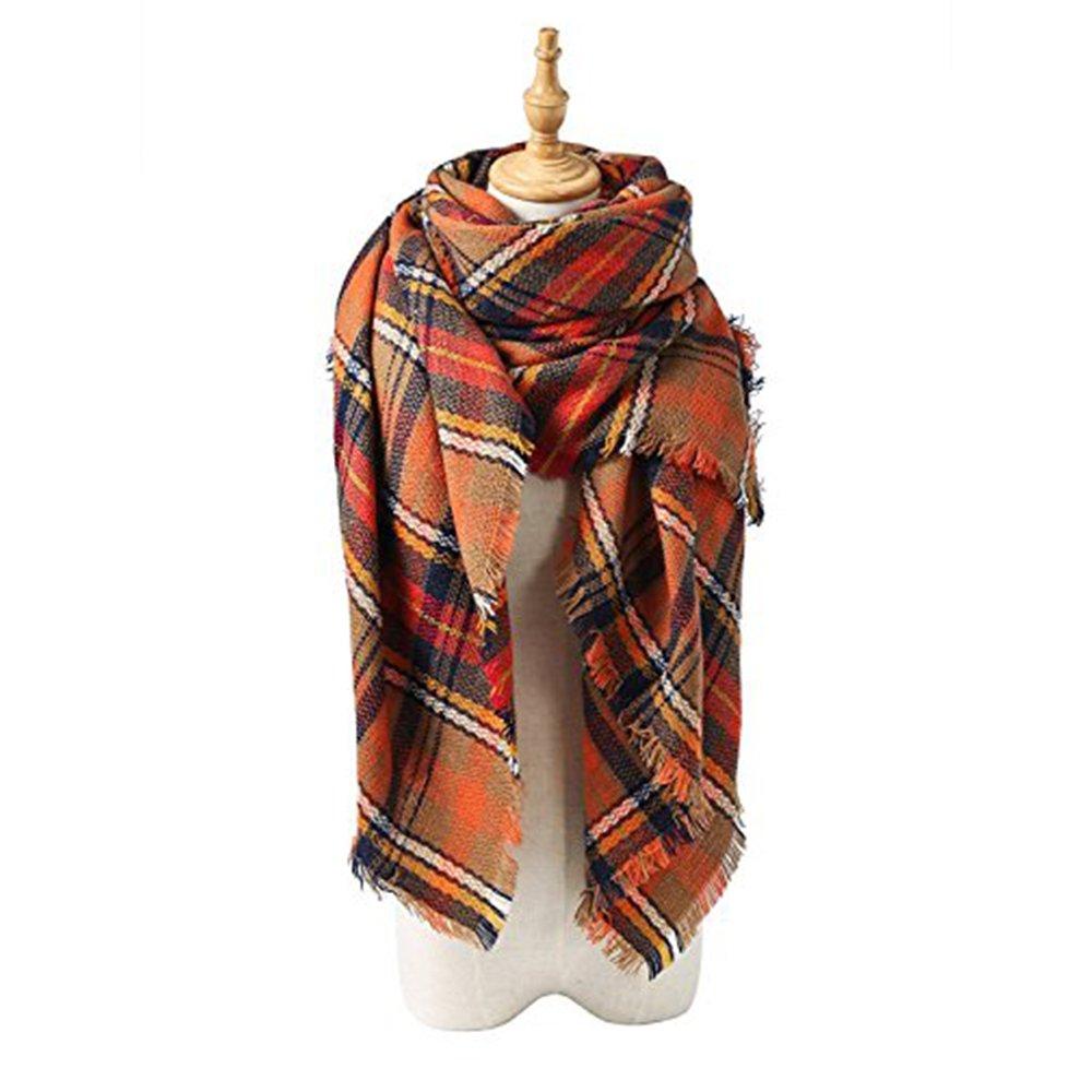 Echo Paths Women's Tassels Soft Plaid Tartan Scarf Winter Large Blanket Wrap Shawl B Orange