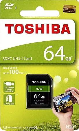 Toshiba - Tarjeta de Memoria SD de 64 GB N203 SDXC UHS-I (Clase 10, 100 MB/s (THN-N203N0640A4)
