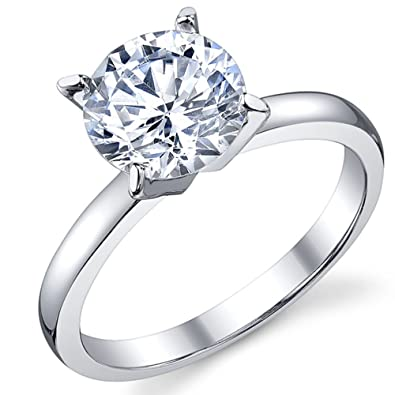 2 Carat Round Brilliant Cubic Zirconia CZ Sterling Silver 925 Wedding Engagement  Ring Size 4