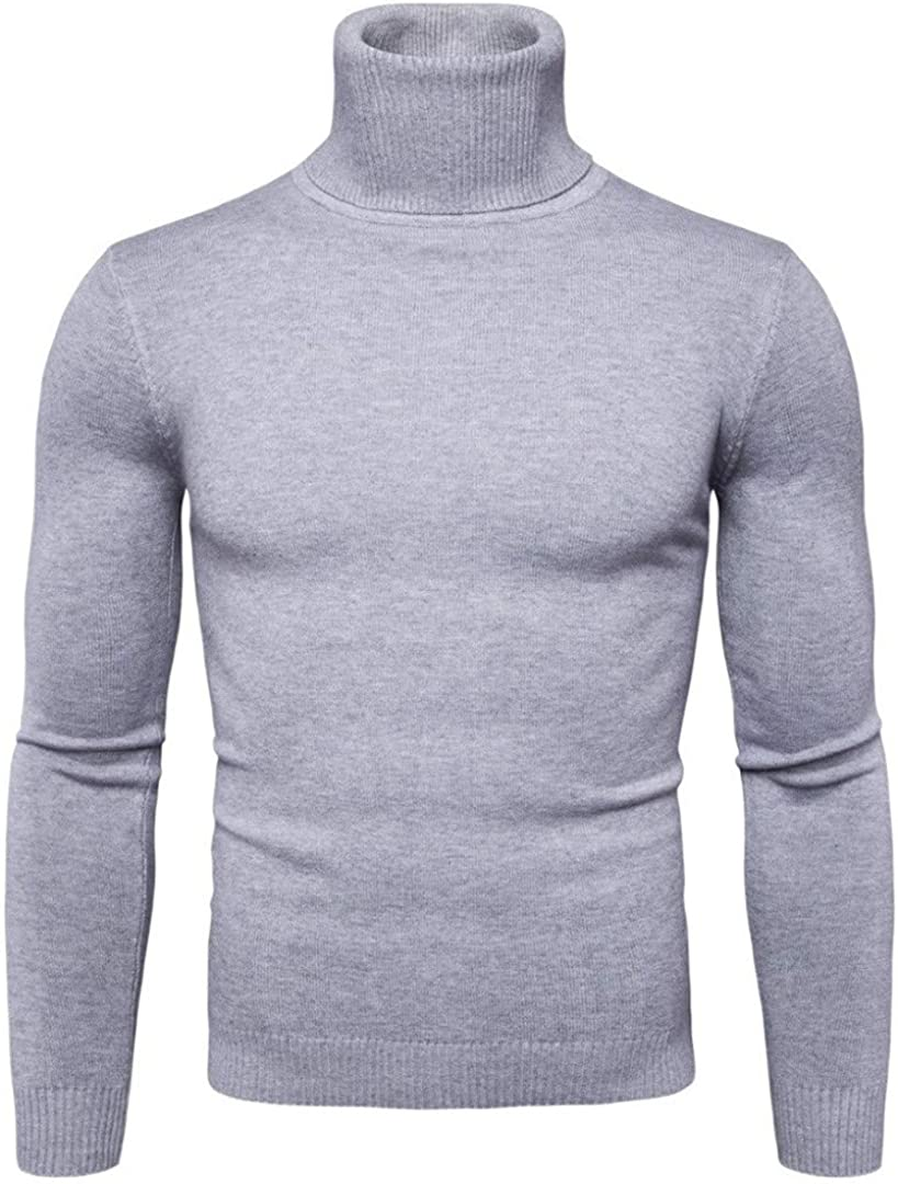 JGYFTJ Autumn Winter Mens Sweater Fashiion Solid Turtleneck Sweaters Men Casual Slim Fit Long Sleeve Knitted Elastic Sweater