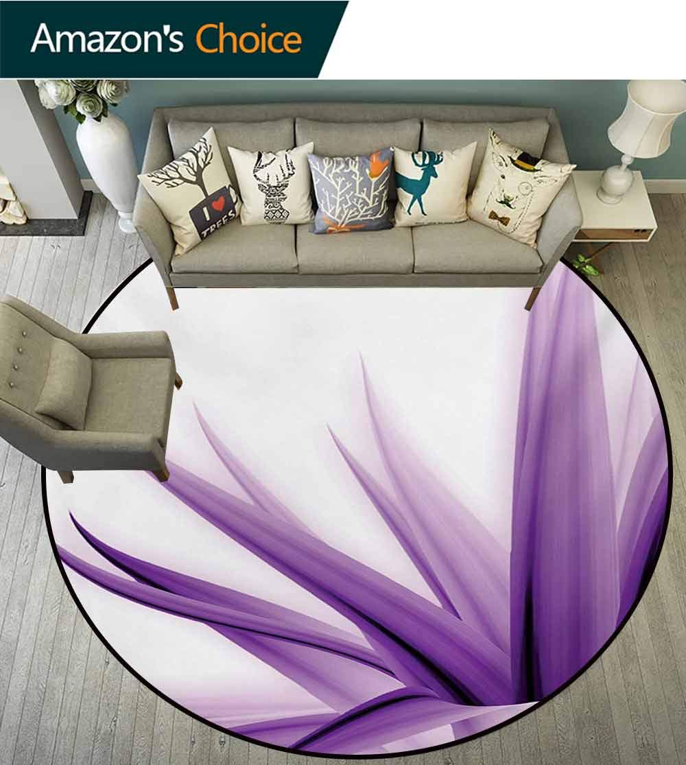 RUGSMAT Flower Modern Machine Round Bath Mat,Purple Ombre Style Long Leaves Water Colored Print with Calming Details Image Non-Slip No-Shedding Kitchen Soft Floor Mat,Round-31 Inch by RUGSMAT (Image #1)