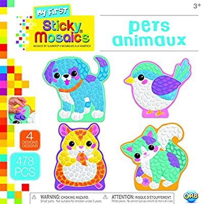 ORB The Factory Sticky Mosaics My First Pets Arts & Crafts, Teal/Yellow/Blue/Pink/Purple, 9.5