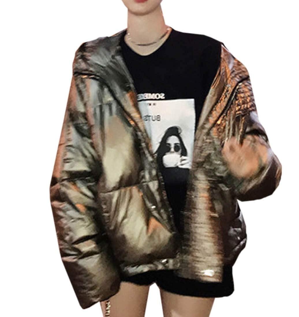 1 jxfd Women Puffer Down Jacket with Hood Short Down Outwear Coat