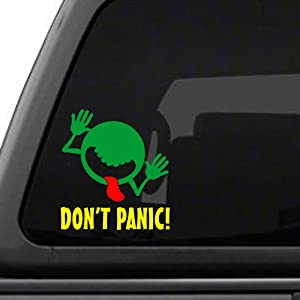 Signage Cafe Hitchhiker's Guide to The Galaxy - Don't Panic Face - Vinyl Decal Sticker