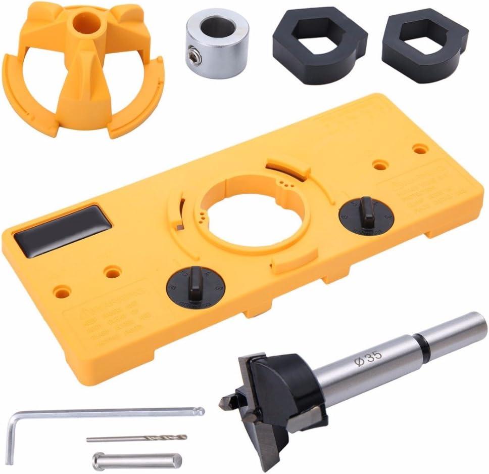 Gu/ía de broca para perforar bisagras Juego de localizador de agujeros de 35 mm con herramienta de instalaci/ón de broca helicoidal Accesorios para carpinter/ía