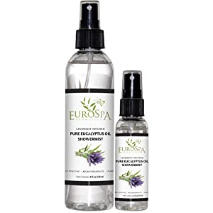 EuroSpa Aromatics Pure Eucalyptus Oil ShowerMist and Steam Room Spray, All-Natural Premium Aromatherapy Essential Oils - Lavender Infused, Duo Pack, 8oz and 2oz