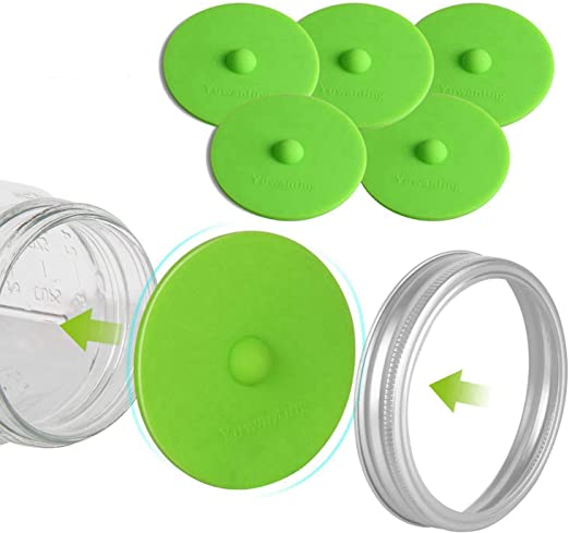 Oraunent 6-Pack Silicone Airlock Waterless Fermentation Lids for Wide Mouth Mason Jars