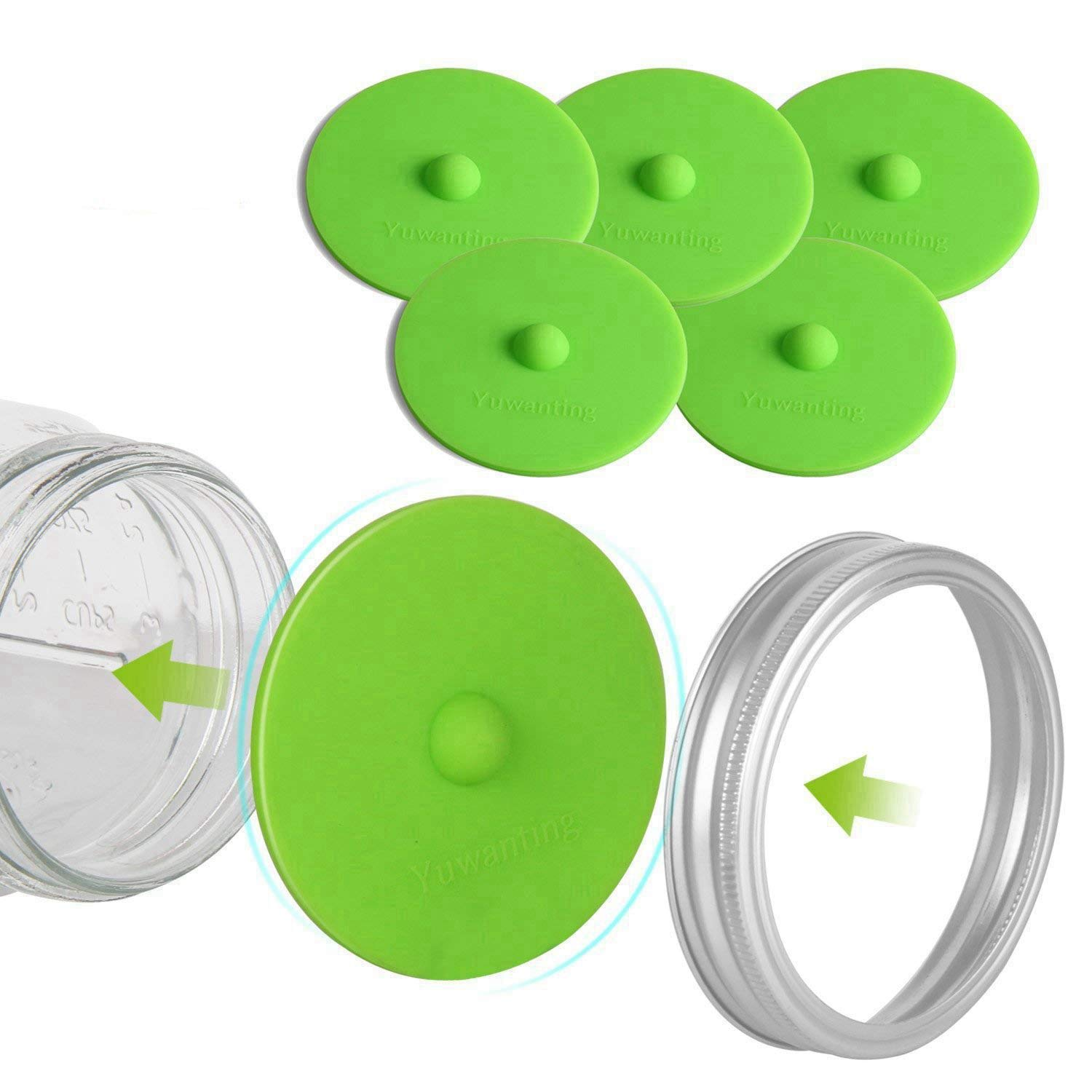 Fermentation Lids for Wide Mouth Mason Jars, Made of Maintenance Free Silicone Airlock Waterless and BPA Free, 5 Pcs(Green) by YUWANTING