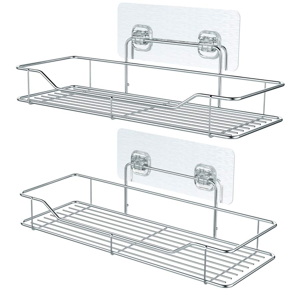 Adhesive Bathroom Shelf, iSEPCLE 2 Pack Shower Caddy Organizer Storage Rack, No Drilling, No Damage for Wall, 304 Stainless Steel iSPECLE