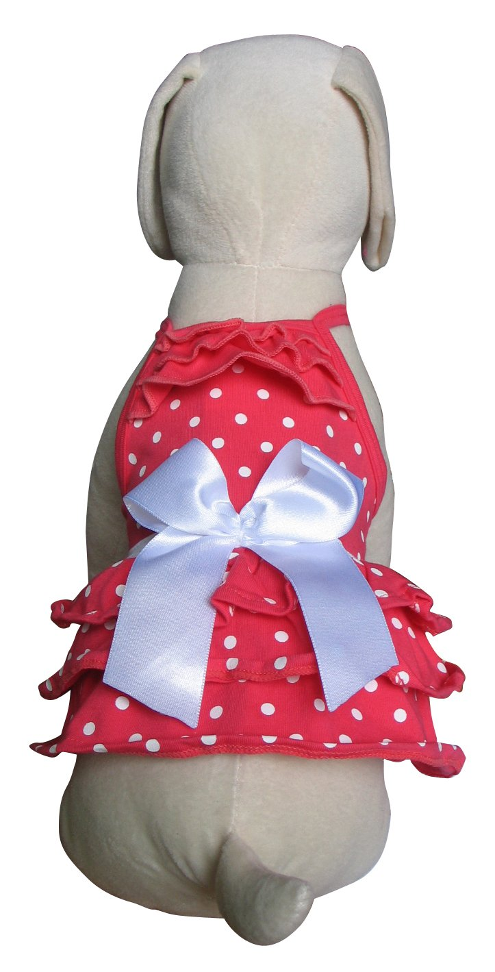 UP-Collection Pink and White Polka Dots Dress, X-Small