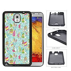 Mint Color Background with Pink Sailboats Pattern [Samsung Galaxy Note III 3 N9000] Rubber Silicone TPU Cell Phone Case