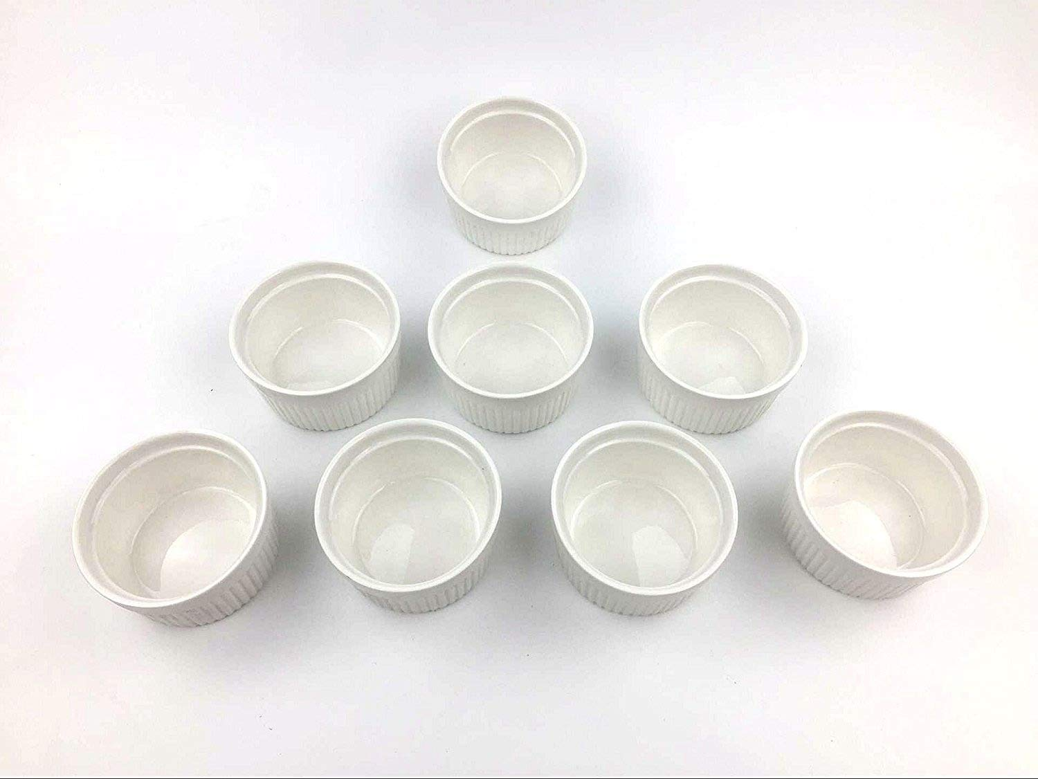 Set of 8 PCS 6 oz Round Porcelain Oven Safe Ramekin Dessert Souffle Baking Dish(3.5 INCHES) (WHITE) by Accguan