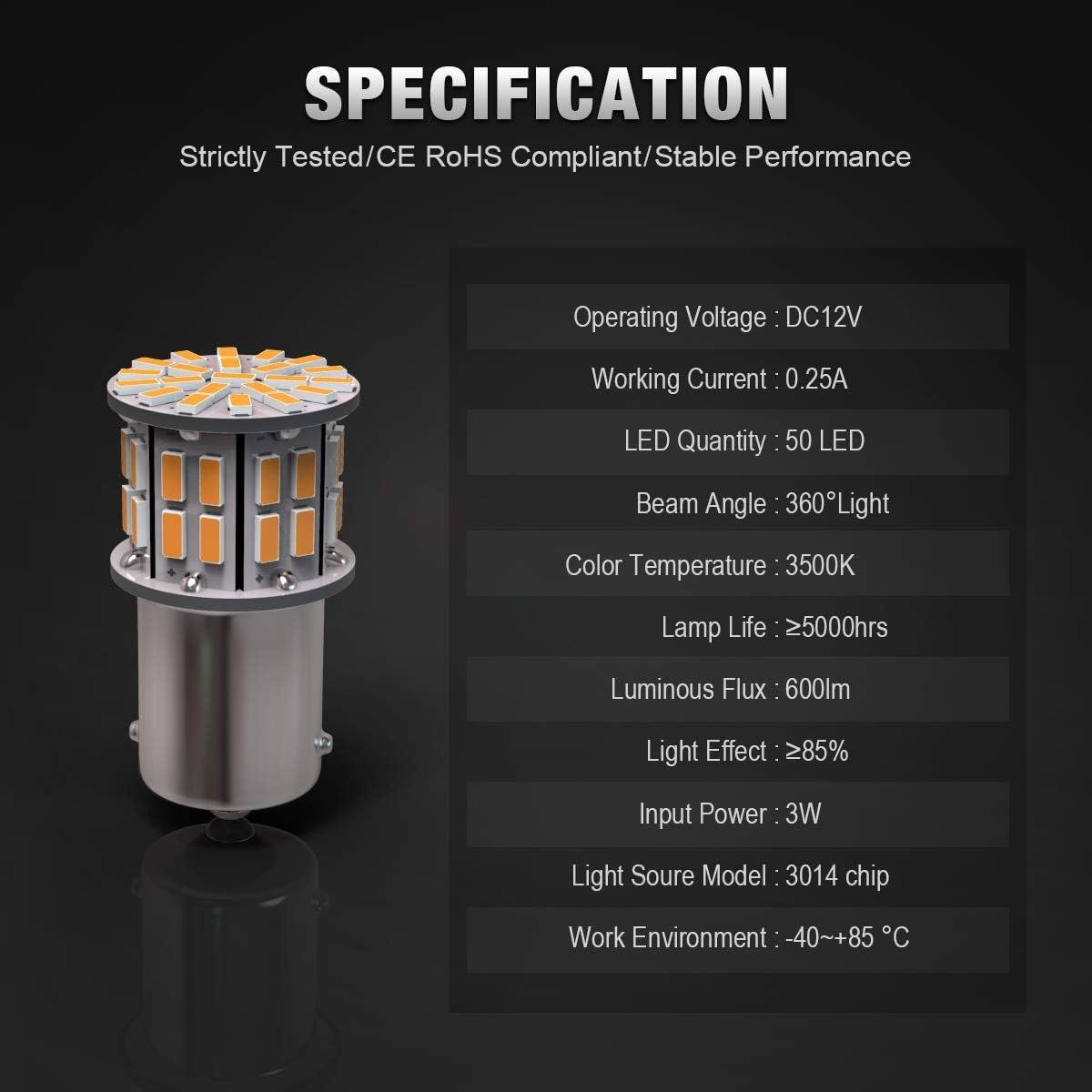 KAFEEK 10/× Super Bright 1156 1141 1003 7506 BA15S 50-3014SMD LED Bulbs 12 Volt RV Camper Interior Lights Warm White KF-10074
