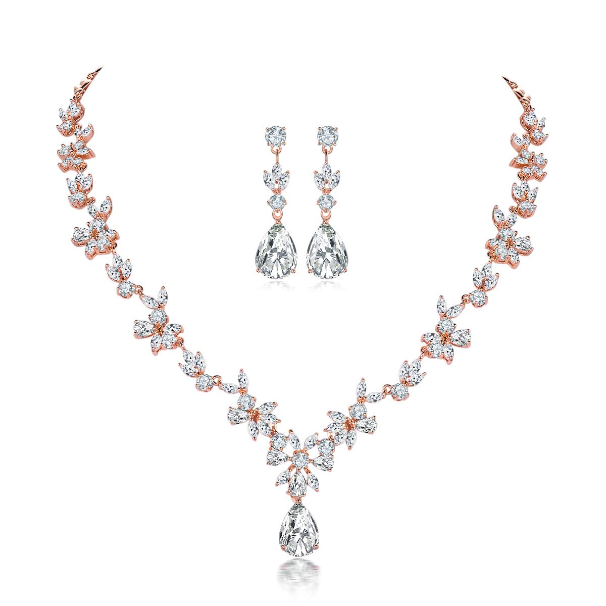 Shuxin Jewellery Set For Women Necklace Dangle Earrings Bracelet Set White Gold Plated Rose Gold Jewelry Set With Buy Online In Japan At Desertcart Jp Productid 181336483
