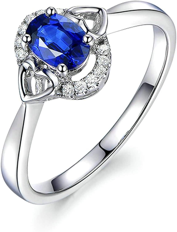 Daesar Anillo Compromiso Mujer Oro Blanco 18K Anillo Oval con Corazón Zafiro Azul 0.65ct y Diamante 0.1ct