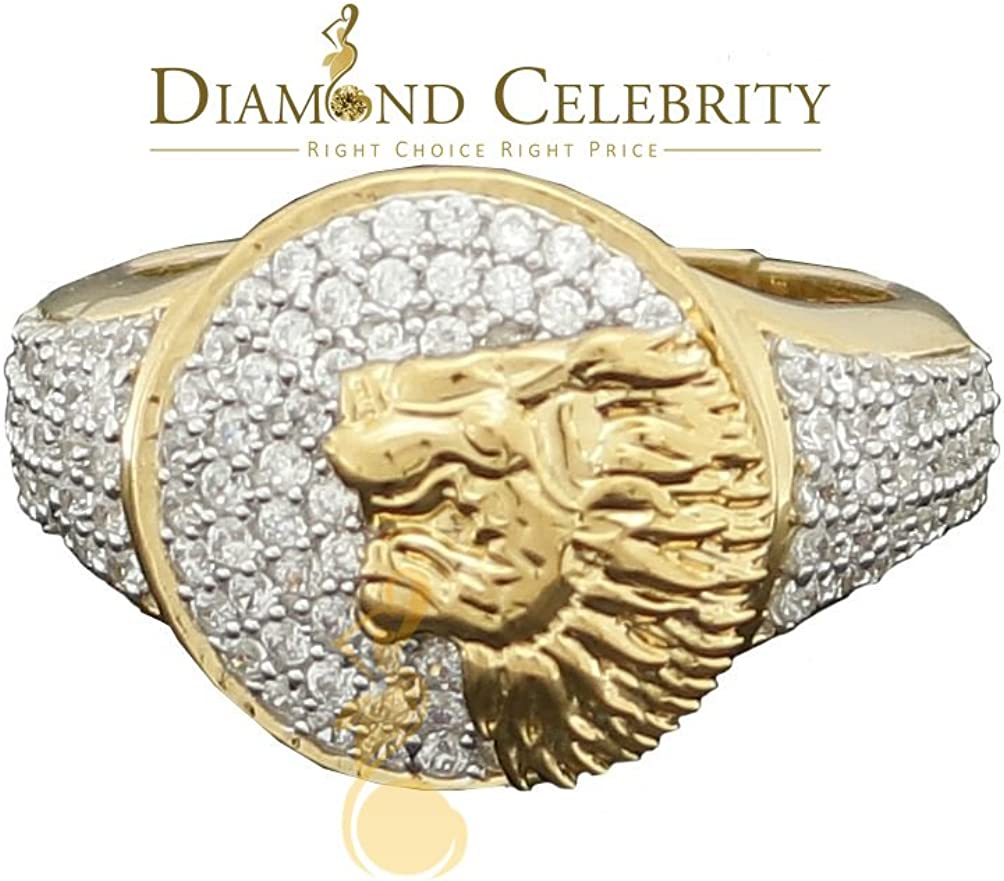 Diamond 10K Yellow Gold Finish Silver CZ Mens Lion Ring Size 12