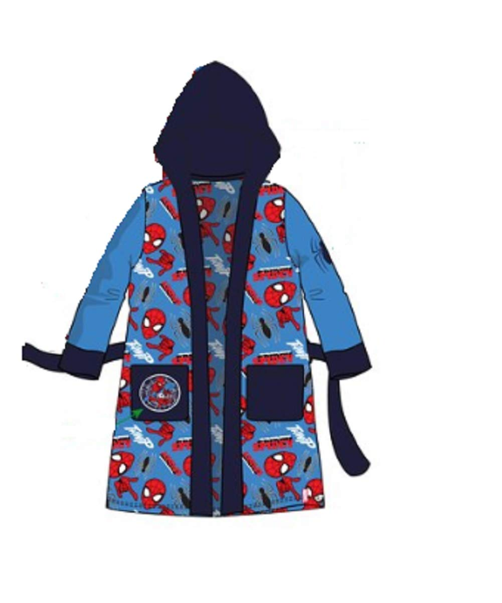 GladRags Boys Spiderman Dressing Gown Size 3 4 5 6 7 8 9 10 Character Fleece Bathrobe