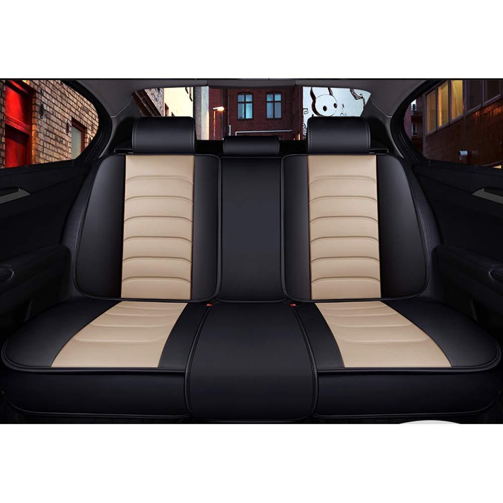 DaFei Fundas para Asientos de Autom/óvil Juego Completo de 5 Asientos Airbags Compatibles Delanteros Y Traseros Coj/ín Protector de Confort de Cuero Transpirable Color : Black